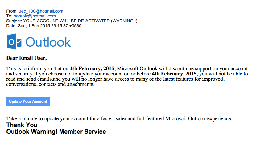 Beware of phishing scam the working mouse for Hotmail email template